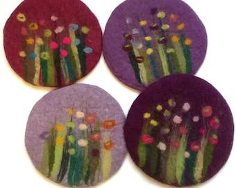 felt pot holder, grass and flowers, purple