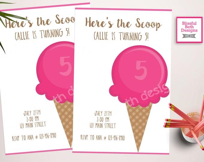 ICE CREAM BIRTHDAY, Here's the Scoop Birthday Invitation,  Ice Cream Invitation, Here's the Scoop, Ice Cream Birthday, Ice Cream