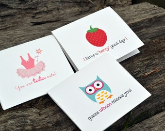Lunch Box Mini Notes for Girls / Lunch Box Note Cards / Notes for Kids / Lunch Notes / Lunchbox Notes