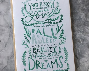 Watercolor falling in love card