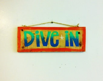 Rustic Wooden Dive In Coastal Beach Tropical Sign Wall Hanging Decor Art