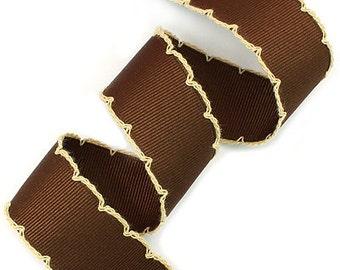 25mm(1'') Brown / Beige Moon Stitch Grosgrain Ribbon #Picot #Moon Stitch