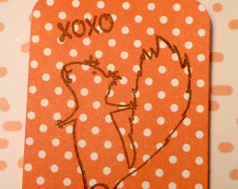 "Orange Polka Dot Squirrel  ""xoxo""  Paper Gift Tag"