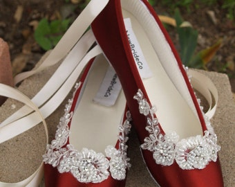 Burgundy Flats embellished w Ivory beaded bridal lace, Victorian, Renaissance, Great Gatsby, Romantic satin slipper, lace up ribbon