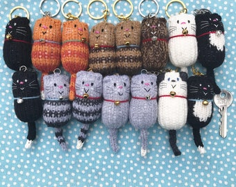 Cat - Fat Cat Hand Knitted Keyring, Keychain, Keyfob, Bag charm, Cat lover Gift