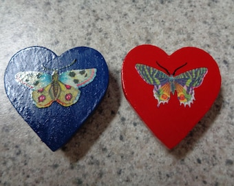 Set of 2 Colorful Butterfly on Red and Navy Blue Wood Heart Magnets - Kitchen Decor - Home Interior
