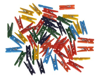 Mini Wooden Clothespins, Assorted Color, 1-Inch, 45-Count