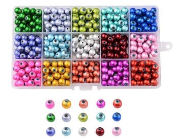 1 box of 450 glass beads, 8mm to 15 compartments color mix (30 of each color)