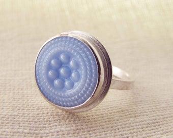 Vintage Blue Milk Glass Button Ring