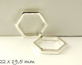 4 pcs connector honeycomb in silver 22 x 19.5 mm