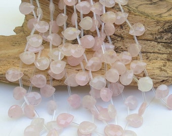 Briolettes - Rose Quartz - 12x15mm - Top Drilled - Faceted - Teardrop - Brios - 13 Beads