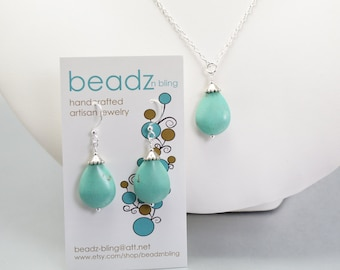 Turquoise Jewelry Set, Bridesmaid Jewelry, Necklace Earring Set, Beach Wedding Jewelry, Bridesmaid Gift, Earrings and Necklace