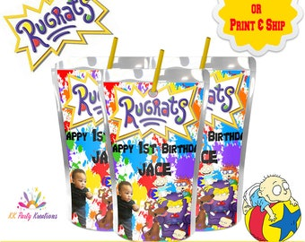 Rugrats Juice label-Caprisun-Party favors-First Birthday-Printable-Pouch Labels-Digital-Printed-Party supplies-Custom-Party printables