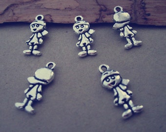 50pcs Antique Silver boys Pendant Charms 8mmx18mm