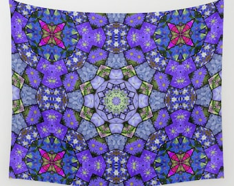 Garden mosaic mandala wall tapestry, blue floral kaleidoscope wall hanging, home decor, Mother's Day gift, Christmas gift