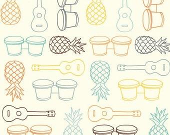 Beach Fare - Multi - Summer '62 - Jay Cyn for Birch Fabrics -  Organic Poplin Cotton Fabric - Pond - Fabric By the Half Yard