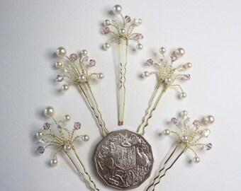 Light Amethyst Crystal Hair Pins, Swarovski Pearl Crystal Bridal Hair Pins, Custom Bridal Hair Pins, Wedding Hair Accessories