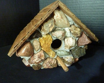 Rustic Colorado Decorative Large Chalet Rock Birdhouse