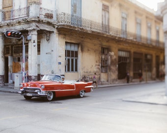 Cuba Photography, Havana Print, Red Classic Car Photography, Cuba Art Print, Travel Print, Old Havana, Vintage Car, Wall Decor - 1959