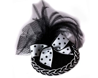 Fascinator Hat- Pinup-Polka Dot Retro Black and White with Feathers and Vintage Net Embellishment