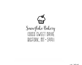 Food Bakery Personalized Custom Return Address Rubber Stamp or Self Inking Cupcake - Home Sweet Home