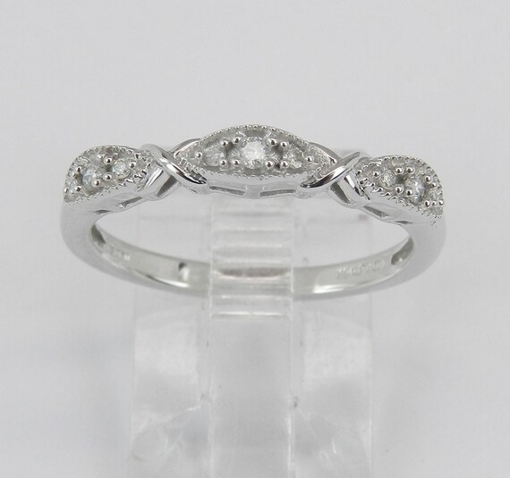 Diamond Ring Wedding Ring White Gold Ring Anniversary Band Size 7