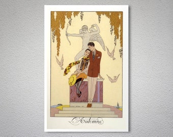 L'Automne by George Barbier, 1925 Vintage Poster - Poster Paper, Sticker or Canvas Print