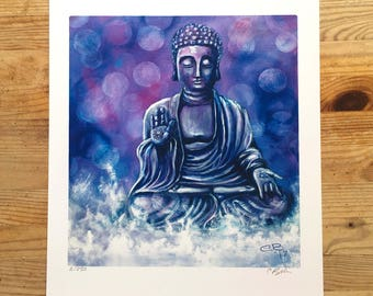 Serenity - Limited edition Buddha Print , The state of being calm, peaceful, and untroubled
