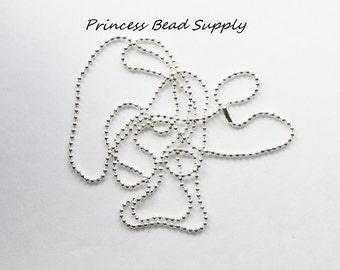 """Set of 10 Silver Ball Chain Necklace 1.5mm with Connector,  27.6"""" Long Ball Chain Necklace"""