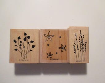 3 Rubber Stamps-Stampin Up!-Leaves And Flowers-Wood Mounted-Kids Paper Crafts-Journaling-Card Making-Scrapbooking-Gift Tag Making-Pre-Owned