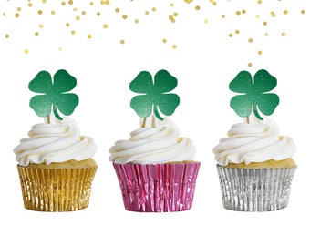 12 Shamrock Cupcake Toppers - St Patricks Day - Cupcake Toppers - St Patricks Day Food Picks - St Patricks Party Decor - Glitter Toppers