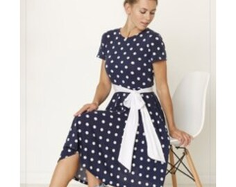 Navy Polka Dot Midi Dress