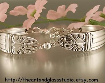 Silver Spoon Bracelet DANISH QUEEN Jewelry Vintage, Silverware, Gift, Anniversary, Wedding, Birthday