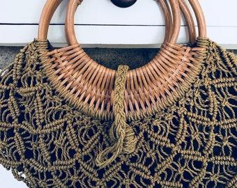 Vintage Boho Woven Jute Hand Bag/Purse with Rattan Handles