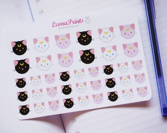 Lunar Cats Planner Stickers | Stationery for Erin Condren, Filofax, Kikki K and scrapbooking