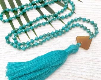 Sea glass necklace - Beach jewelry women - Boho summer necklace - Turquoise necklace - Beach girl gifts - Long tassel necklace - Crystal