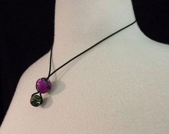 Drop Bobbles Purple Necklace