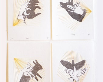 pet lover prints Letterpress hand shadow puppet print stitching, textile art, hand stitched, mixed media wall art, very limited edition SET