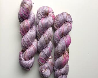 Hand dyed yarn 4ply finger weight merino and silk 100g. In Mailaka Non mulesed ethically sourced.