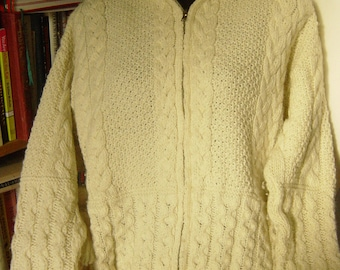 """Vintage Irish Hand Knitted Hooded Cardigan Cable Knit with front zip Large Bust up to 42"""""""