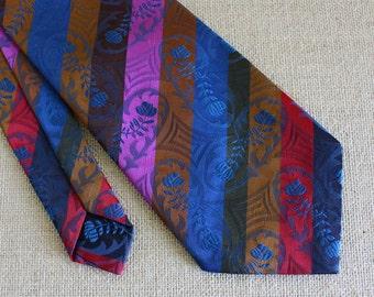Striped Necktie - Diagonal Stripes with Floral Pattern - Vintage Men's Necktie - Wide Tie