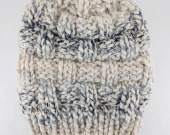 READY TO SHIP - Basketweave Slouch - Chunky Knit Slouchy Child Sized Beanie