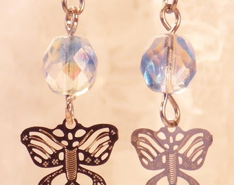 Butterfly Earrings with Blue Crystals