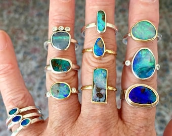 Artisan Custom made 9k Yellow Gold Or Sterling Silver Australian Boulder Opal Ring