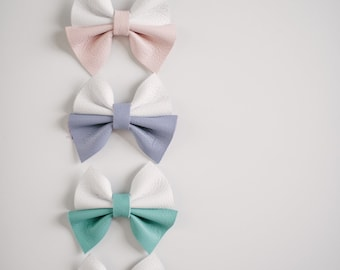 Color Block Leather Bow | 3 Colors