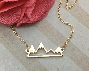 Mountain Necklace - Dainty Gold Bar Mountain Necklace - in a silver gift box