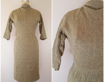 Vintage 1960s Maggi Stover Wool Dress / 60s Wool Wiggle Dress / Green Checkerboard / XS