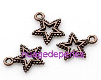 3 metal star pendant charms