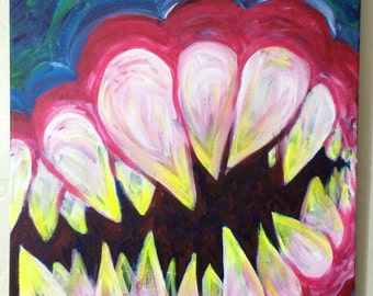 "TEETH large colorful original acrylic painting 16""x20"""