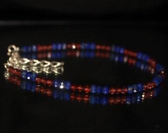 Mozambique Garnet & Lapis Lazuli Bracelet, Blue Red Bracelet, Lapis, Delicate Garnet, Lapis and Garnet,Bracelet for Her,Wine Red Garnet 0035